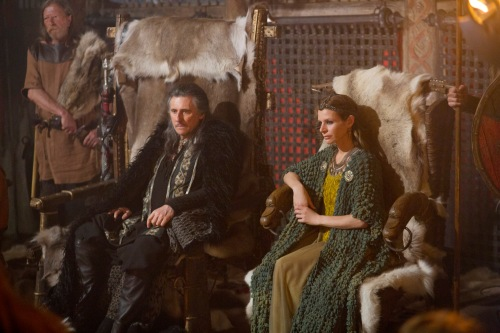 Photo info -Gabriel Byrne as Earl Haraldson and Jessalyn Gilsig as his wife, Siggy. VIKINGS, History Channel 3/3/13