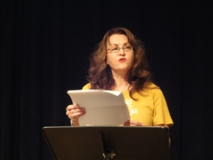 Margaret McCarthy reading at IAWA Salon, The Cell Theatre, NYC,