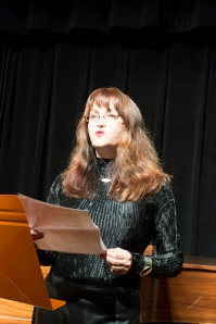 Margaret McCarthy reading at The Cell Theatre, Irish American Writers & Artists Salon, Nov.11.2014